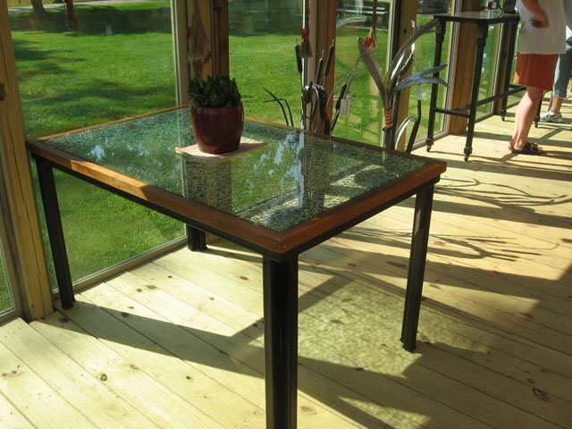 Kitchen Table Laminated Glass Top Cherry and Steel